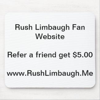 Cojín de ratón del Web site de la fan de Rush Limb