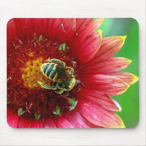 Cojín de ratón del Wildflower y de la abeja Tapetes De Raton