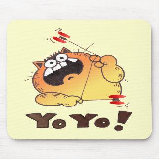 Cojín de ratón divertido del YOYO del gato del dib Tapetes De Ratón