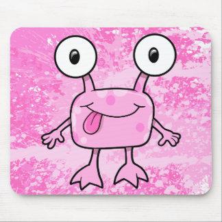 Cojín de ratón extranjero rosado feliz del monstru tapetes de raton