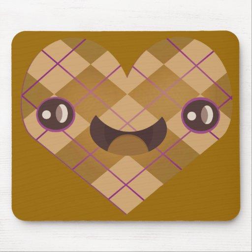 Cojín de ratón feliz del corazón de Argyle Kawaii Alfombrillas De Ratones