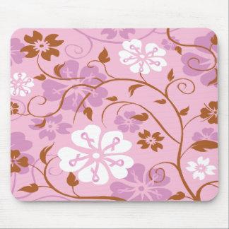 Cojín de ratón floral de la cinta rosada tapetes de ratones