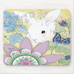 Cojín de ratón floral de oro del conejito tapete de ratón