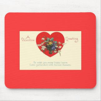 Cojín de ratón floral del corazón rojo del el día  tapete de ratones