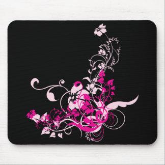 Cojín de ratón floral del rosa/del negro tapetes de raton