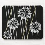 Cojín de ratón floral negro y gris tapetes de ratones