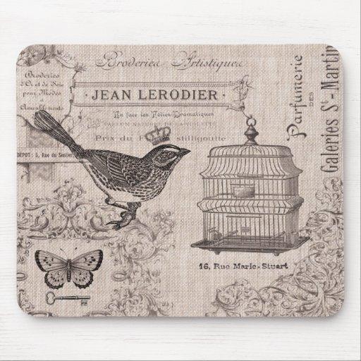 Cojín de ratón francés del pájaro del vintage mouse pads