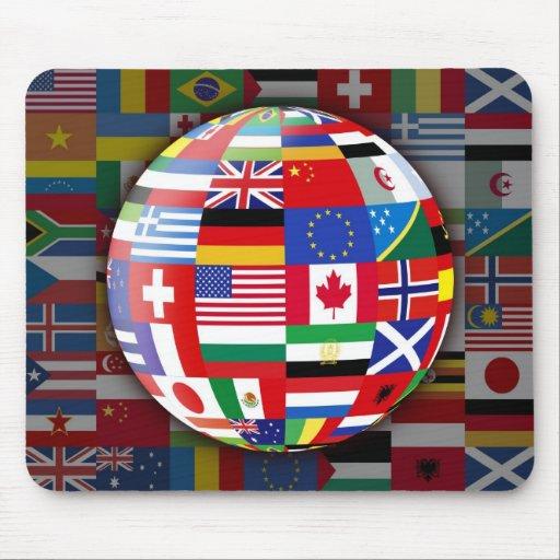 Cojín de ratón global de las banderas tapete de raton