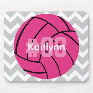 Cojín de ratón gris de Chevron del voleibol rosado Tapete De Ratones