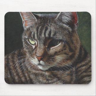 Cojín de ratón gris del gato de Tabby de Hana Tapetes De Ratón