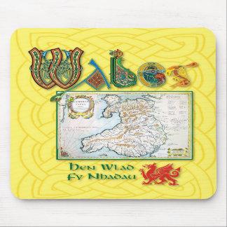 Cojín de ratón histórico del mapa de País de Gales Alfombrilla De Ratones
