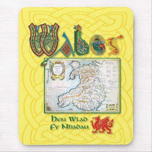 Cojín de ratón histórico del mapa de País de Gales Mouse Pads