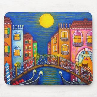 Cojín de ratón iluminado por la luna de Venecia Tapetes De Raton