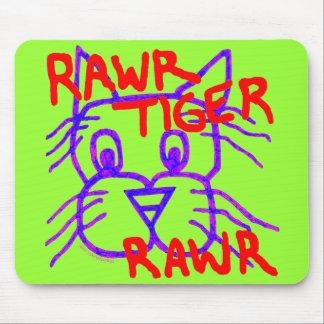 Cojín de ratón lindo de Rawr del tigre de Rawr Tapete De Ratones