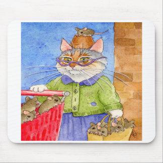 Cojín de ratón loco de la señora del gato alfombrillas de raton