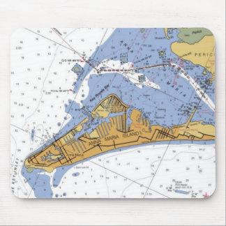 Cojín de ratón náutico de la carta de la isla de A Alfombrillas De Ratón