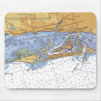Cojín de ratón náutico de la carta del puerto de C Tapetes De Ratón