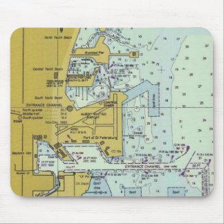 Cojín de ratón náutico de la carta del puerto de S Alfombrilla De Raton