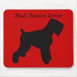 Cojín de ratón negro de Terrier del ruso Alfombrillas De Ratones