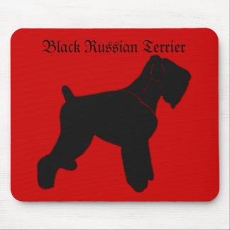 Cojín de ratón negro de Terrier del ruso Tapetes De Raton