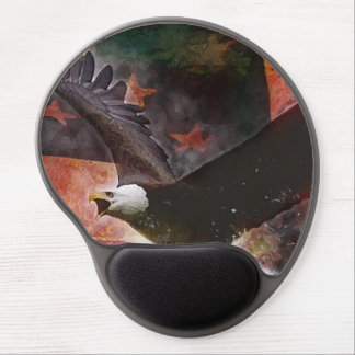 Cojín de ratón patriótico del gel con Eagle calvo  Alfombrillas De Raton Con Gel