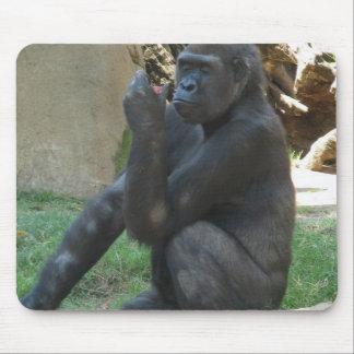 Cojín de ratón pensativo del gorila alfombrilla de raton