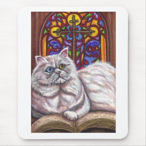 Cojín de ratón PERSA BLANCO del gato de la iglesia Alfombrillas De Raton