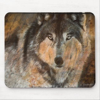 Cojín de ratón pintado del lobo de madera tapetes de ratón