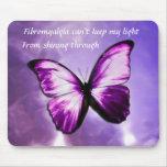 Cojín de ratón púrpura de la mariposa del Fibromya Tapete De Ratones
