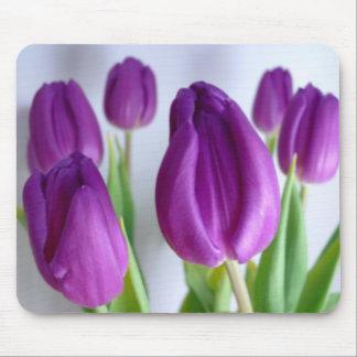 Cojín de ratón púrpura de los tulipanes tapetes de ratones