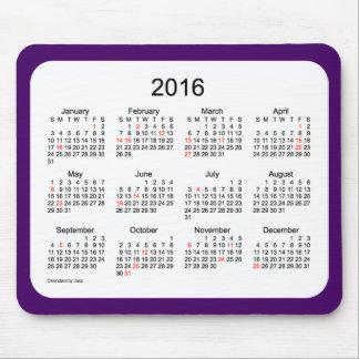 Cojín de ratón púrpura del calendario de 2016 días mousepad