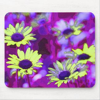 Cojín de ratón púrpura y amarillo de la margarita alfombrilla de ratón