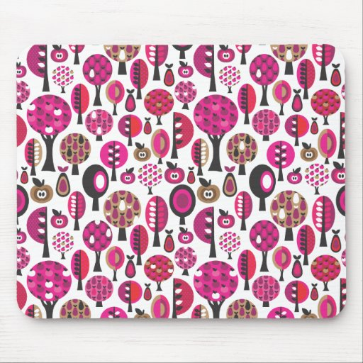 Cojín de ratón retro rosado lindo de los árboles y alfombrillas de raton