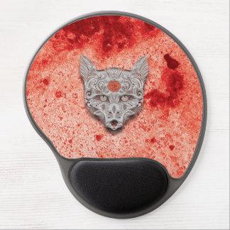 Cojín de ratón rojo/anaranjado del gel del cráneo alfombrillas de raton con gel