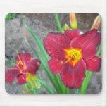 Cojín de ratón rojo de la flor alfombrillas de ratón