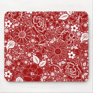 Cojín de ratón rojo de las bellezas botánicas tapetes de ratones
