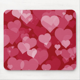 Cojín de ratón rojo de los corazones de la tarjeta tapetes de ratones