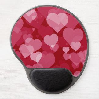 Cojín de ratón rojo del gel de los corazones de la alfombrilla con gel