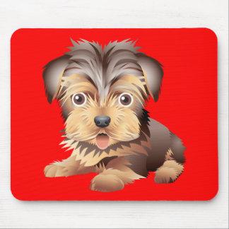 Cojín de ratón rojo del perro de perrito de alfombrillas de raton