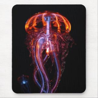 Cojín de ratón rojo y anaranjado de las medusas mousepad
