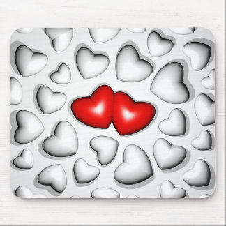 Cojín de ratón rojo y blanco de los corazones tapetes de raton