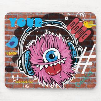 Cojín de ratón rosado de la pared de ladrillo de alfombrilla de raton