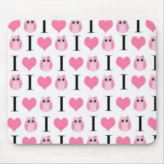 Cojín de ratón rosado de los búhos del corazón I Alfombrillas De Ratones