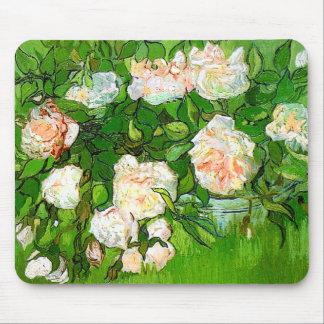 Cojín de ratón rosado de los rosas de Van Gogh Tapete De Ratones