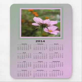 Cojín de ratón rosado del calendario de 2014 flore tapetes de raton
