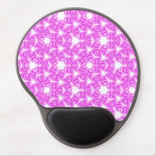 Cojín de ratón rosado del gel de los cráneos del c alfombrilla con gel