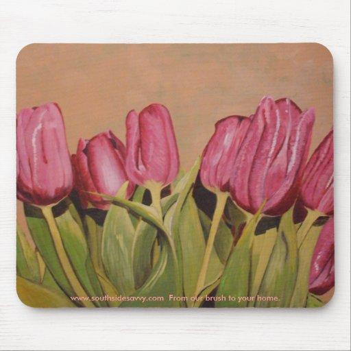 Cojín de ratón rosado del tulipán tapetes de raton