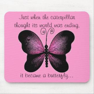Cojín de ratón rosado y negro de la mariposa tapetes de ratón