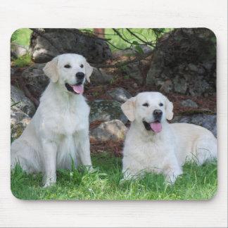 Cojín de ratón sonriente de los perros del golden  tapetes de ratón