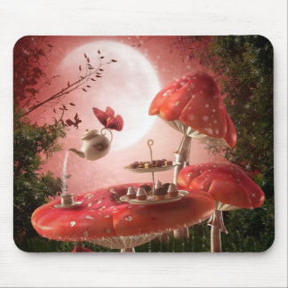 Cojín de ratón surrealista de la fiesta del té mouse pad
